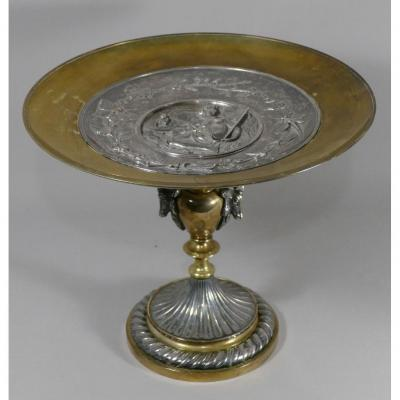 L. Oudry, Centerpiece Or Cup On Pedestal In Silver And Gilded Bronze, Late Nineteenth