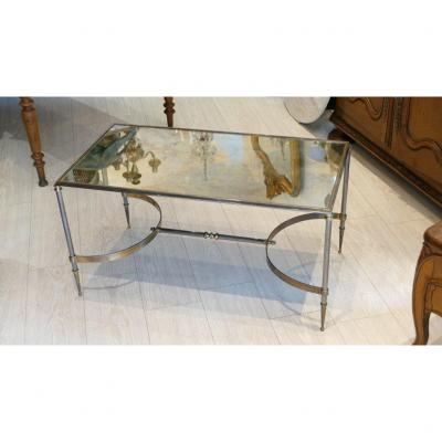 Maison Jansen, Coffee Table In Bronze And Gilded And Silver Brass, Clouded Mirror Tray