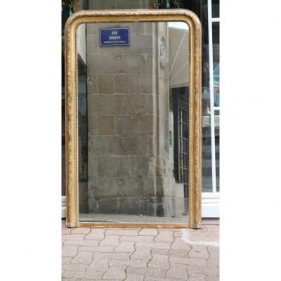 161*102 Cm, Grand Miroir Louis Philippe à Frise De Feuilles De Laurier En Bois Et Stuc Doré XIX