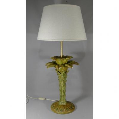 Lampe Palmier En Céramique Peinte, époque Vers 1970