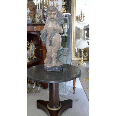 92 Cm, Putto En Bois Sculpté Polychrome, Espagne Ou Portugal, XVIII ème Siècle