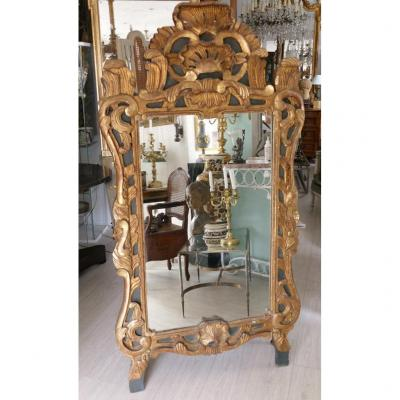 169.5 Cm, Large Provençal Or De Beaucaire Mirror In Golden And Lacquered Wood, XIXth Time