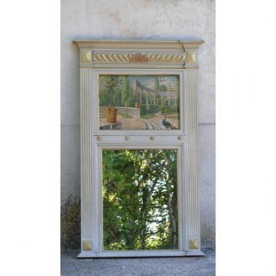 Trumeau Néoclassique En Bois Laqué Et Patiné Doré, Huile Sur Toile Jardin Italien, XIX