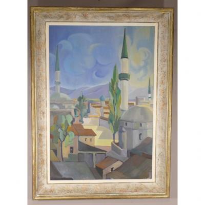 Vue Sur Les Toits De La Mosquée, Huile Sur Toile Signée Lebaud, époque Vers 1950