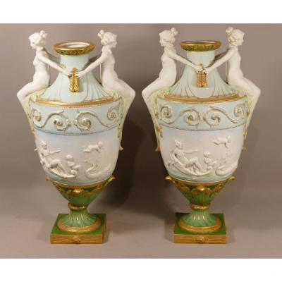 Pair Of Polychrome Biscuit Cassolettes, Germany? Nineteenth Century