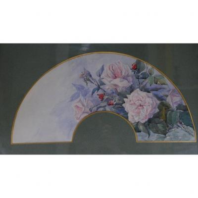 Bouquet De Roses à l'Aquarelle, Projet d'éventail, Début XX ème