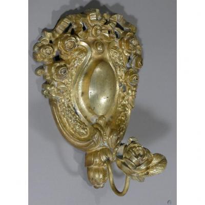 Porte Manteau Ou Serviette En Bronze Doré, Décor à La Rose De Style Louis XVI