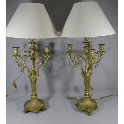 Paire De Lampes Chandeliers Style Louis XVI En Bronze Doré époque Napoléon III
