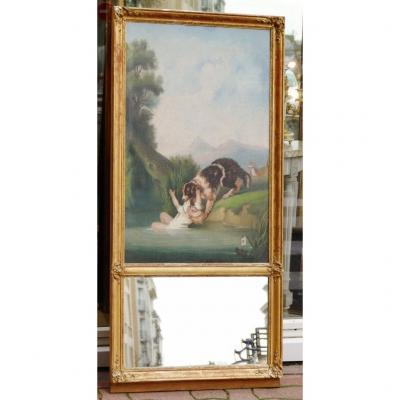 Chien St Bernard Sauvant Jeune Fille Des Eaux, Trumeau d'époque Restauration, XIX ème