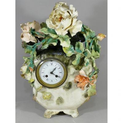 Pendulum In Faience Barbotine With Flowers, Impressionist Ceramic, Montigny Sur Loing
