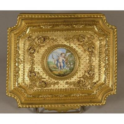 Box Box Gilt Bronze Chiseled And Guilloché, Miniature On Ivory Angelot, Early XIXth