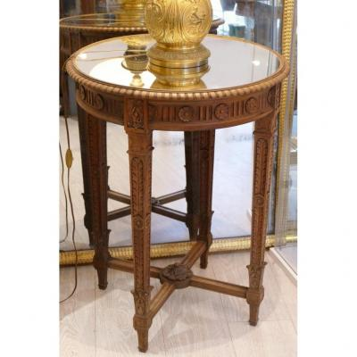 Louis XVI Style Pedestal Table In Carved Walnut Wood, Mirror Top, XIXth Time