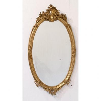 130 Cm, Large Napoleon III Oval Mirror In Wood And Gilded Stucco With Leaf, Rockery