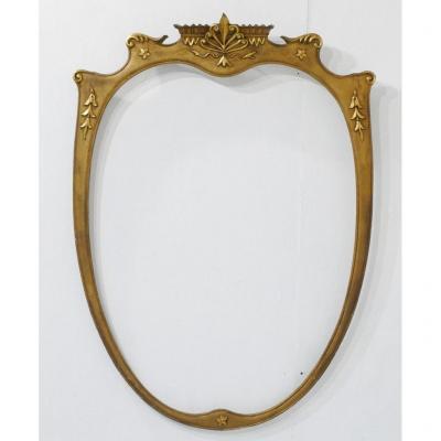 Très Grand Cadre Ovale En Bois Sculpté Doré Pour Miroir Ou Tableau, époque Début XX ème