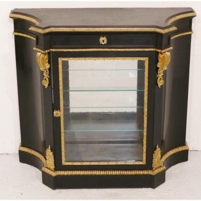 Support Cabinet Forming Showcase In Black Wood And Gilt Bronze, Napoleon III