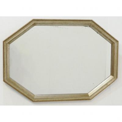 Octagonal Mirror In Wood With Silver Patina, Art Deco Period