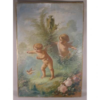Tableau, Huile Sur Bois, Putti Jouants Et l'Oiseau, époque Vers 1900