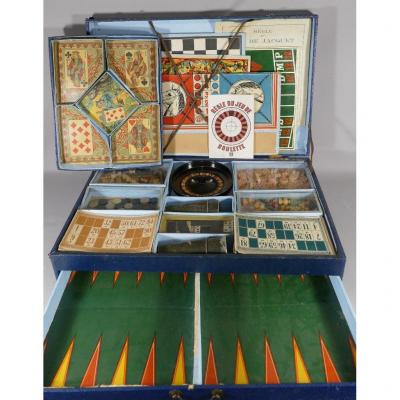 Early 20th Century Games Case, Goose, Backagom, Roulette, Horses, Loto ...