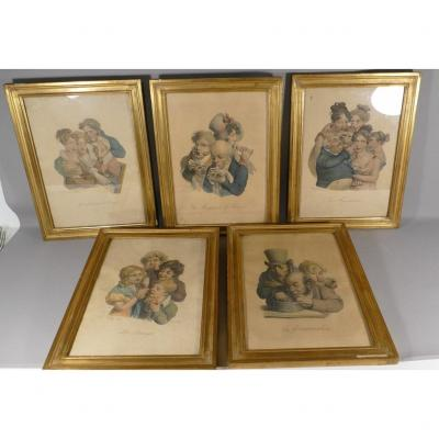 5 Lithographs After Boilly, Les Caricatures, Late Nineteenth Time