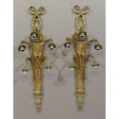 99 Cm! Pair Of Very Large Louis XVI Style Wall Lights In Gilt Bronze, XXth Time
