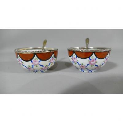 Paire De Salerons En Porcelaine Et Argent Massif, Vers 1920