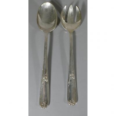 Christofle Du Barry, Salad Cutlery In Silver Metal