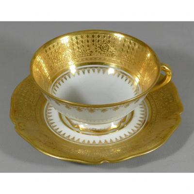 Tasse De Collection En Porcelaine De Limoges En Large Incrustation De Dorure