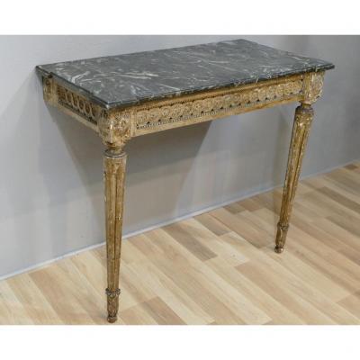 Console Louis XVI En Bois Sculpté, Patine Du Temps Et Marbre, époque XVIII ème