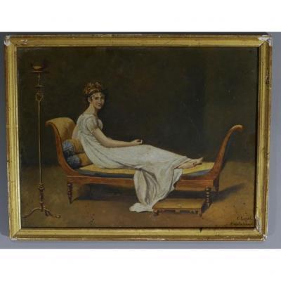 Madame De Recamier d'Après David, Huile Sur Carton Fin XIX ème