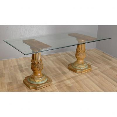 Large Dining Table Carved Wood Base And Glass Top, Circa 1960