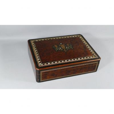 Napoleon III Chip Box And Cards In Thuja Burl And Boulle Marquetry, XIXth Time
