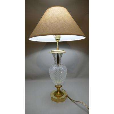 Lampe En Bronze Doré Et Verre Pointe De Diamant, Style Empire