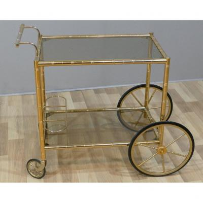 Serving Trolley, Rolling Bar Trolley, Golden Iron And Glass Trays, Around 1970