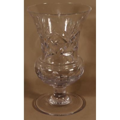 Vase En Cristal Taillé Biseaux , Forme Médicis, époque Vers 1950
