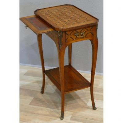 Transition Style Marquetry Side Table, Early Twentieth Time