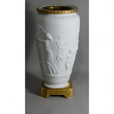 Cassolette Vase In Antique Biscuit And Gilt Bronze, XIXth Century