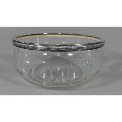 Salad Bowl Or Vegetable Cut Crystal And Sterling Silver, Early Twentieth Time