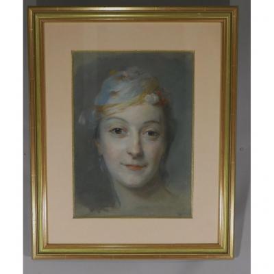 d'Après Quentin De La Tour, Portrait De Mademoiselle Fel, Pastel époque XIX ème