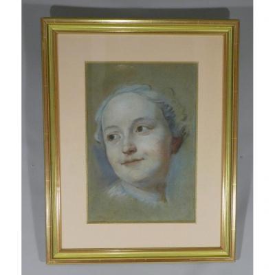d'Après Quentin De La Tour, Portrait d'Une Jeune Femme, Pastel époque XIX ème