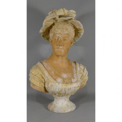 Buste En Terre Cuite d'Une Femme En Merveilleuse, Directoire, Fin XVIII ème