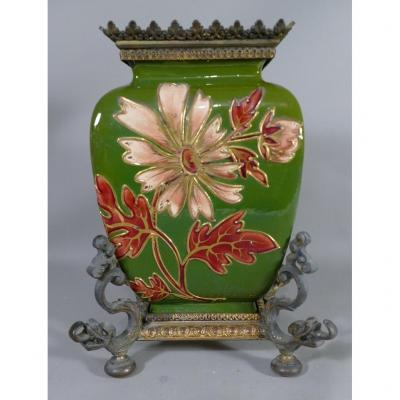 Vase Forming Cassolette In Faience With Flowers And Bronze Mount, XIX