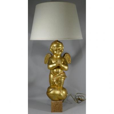 Grande Lampe à l'Angelot En Bois Doré, Epoque XIX ème Siècle