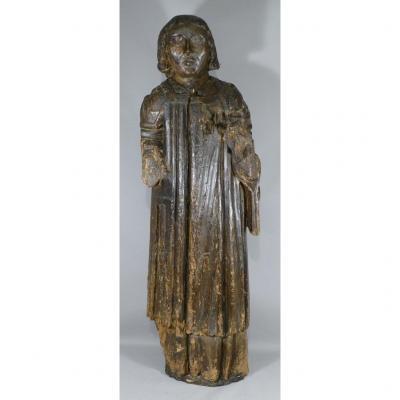 XVth Century Sculpture, Saint In Carved Oak Wood