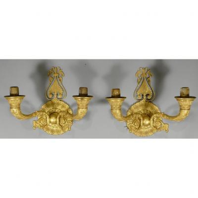 Paire d'Appliques Charles X Restauration En Bronze Doré Au Mercure, XIX ème