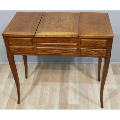 Louis XV Louis XVI Transition Style Dressing Table In Cherry And Marquetry, XIXth Time