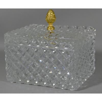 Coffret à Bijoux, Boîte En Verre Taillé Diamant, époque XX ème