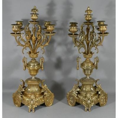 Pair Of Napoleon III Candlesticks In Gilt Bronze, Rams And Cherubs, Louis XVI Style