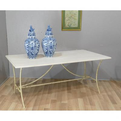 Bamboo Style Iron And Painted Wood Dining Table, 1970s