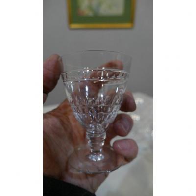 6 Verres à Vin Cuit En Cristal De St Louis Taillé, époque Art Déco