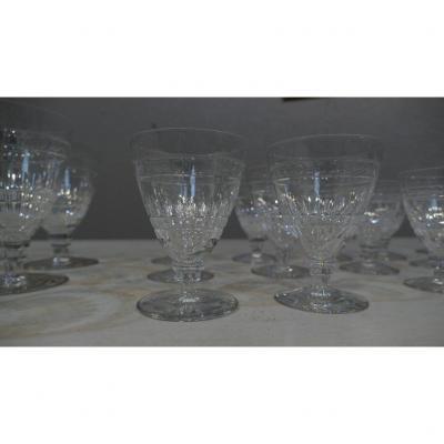 6 Verres à Vin Blanc Ou Rouge En Cristal De St Louis, Art Déco